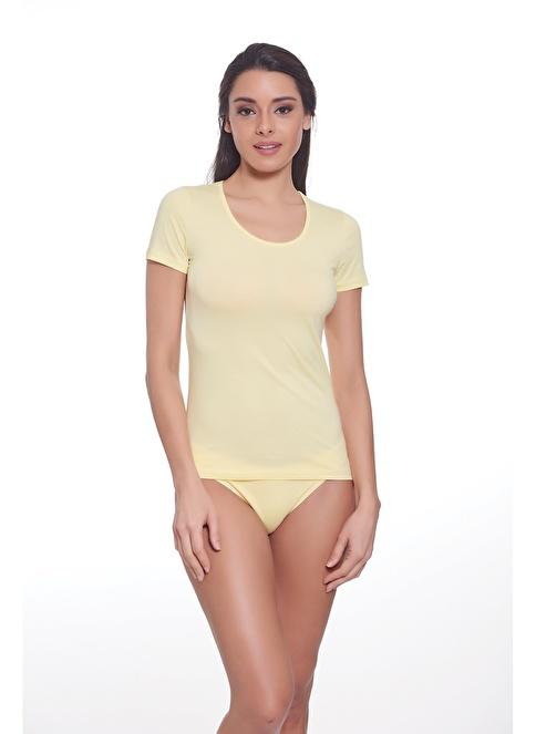 Sevim Renkli T-Shirt Sarı